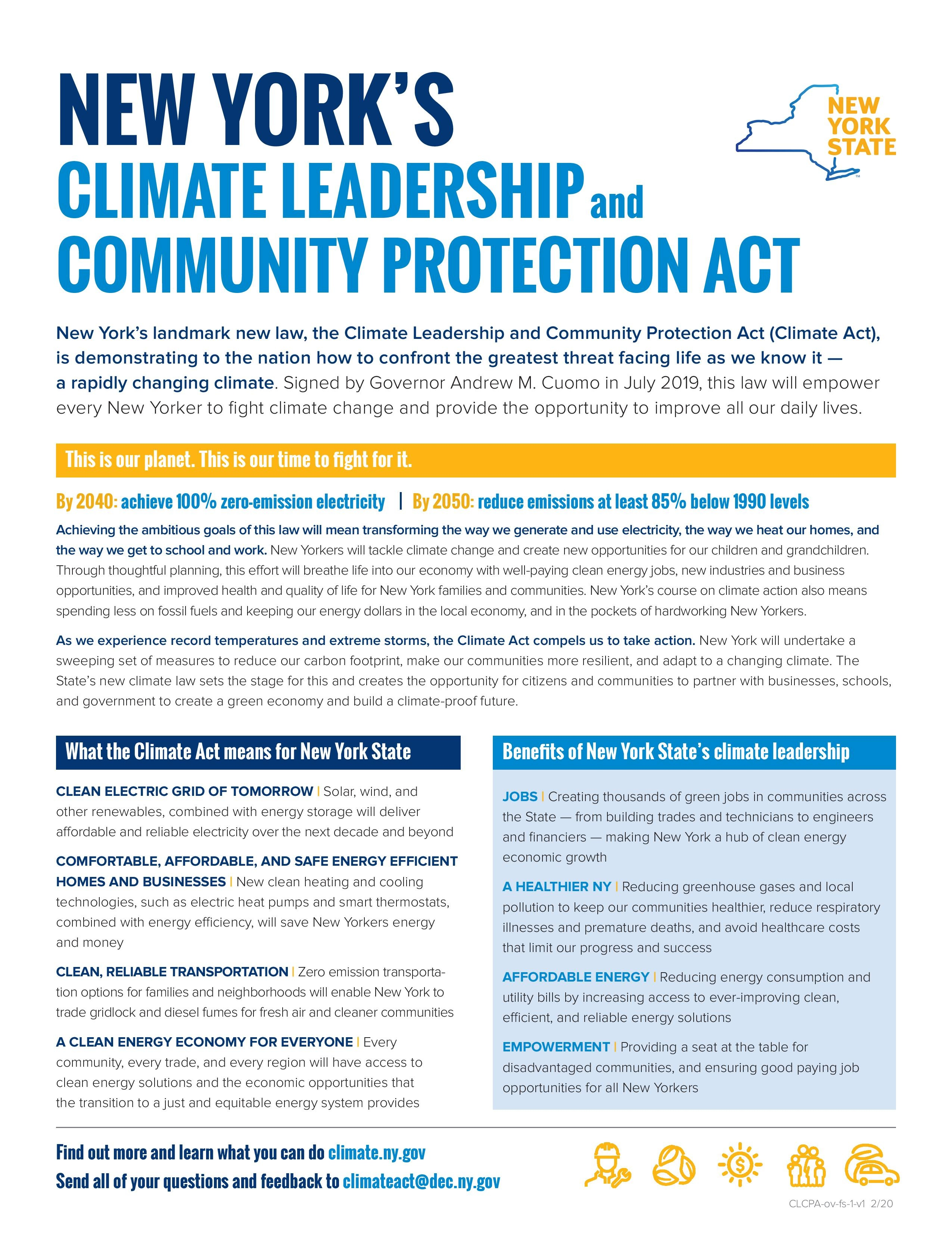 New York Climate Leadership and Community Protection Act (CLCPA) Fact Sheet