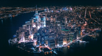 New York City, Aerial View, At Night, YSG Solar