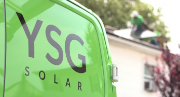 YSG Solar, Back of YSG commercial truck with logo, NY