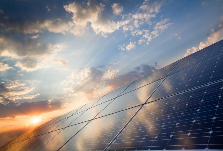 YSG Solar, Solar panels with bright sun reflection, NY