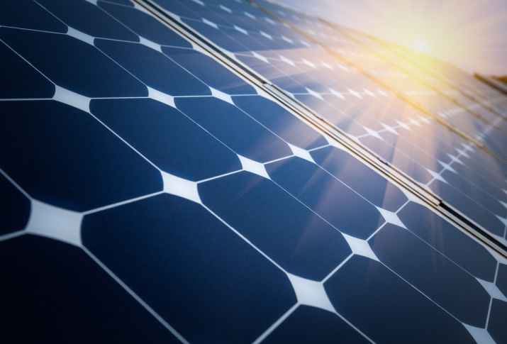 YSG Solar, Sun reflecting off solar panel, NY