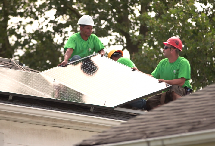 YSG Solar, Crew installing solar panels on a roof, NY