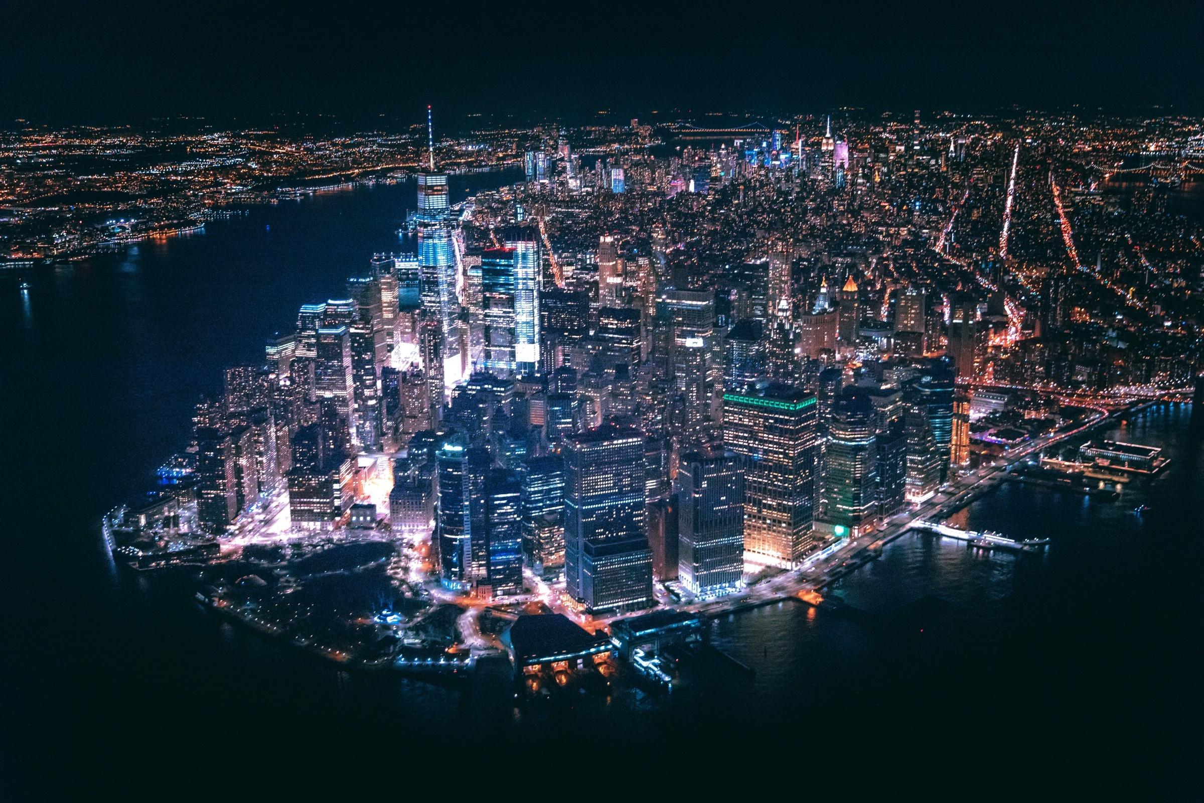 New York City, Aerial View, At Night, YSG Solar